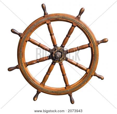 Old Seasoned Boat Steering Wheel Isolated On White Background