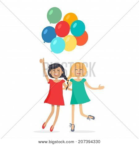 Happy girls with closely interwoven braids hold balloons, friends forever. Dark-haired and blonde girl in dresses having fun, smiling and holding air balls. Female friendship vector illustration.