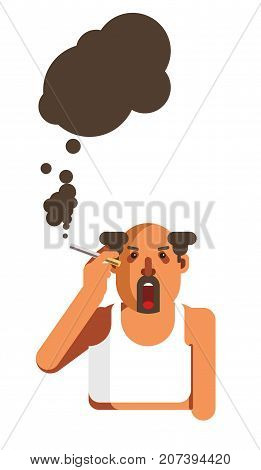 Half-bald man with beard smokes cigarette with wide open mouth and spreads black smoke isolated cartoon flat vector illustration on white background. Harmful habit that spoils health and environment.