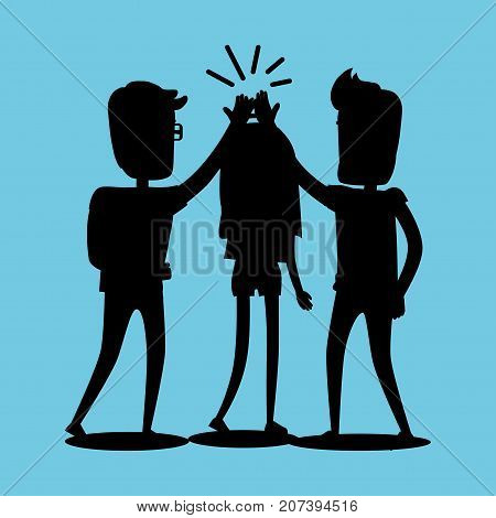 Silhouettes of guys and girl clapping hands together above heads. Best friends spend fun time, friendship day flat design. Vector illustration of unknown unrecognizable people banner in cartoon style