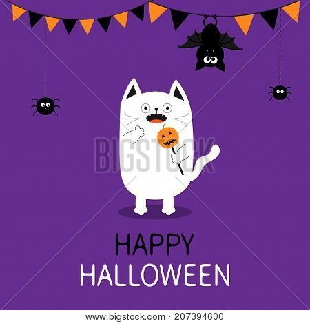 Spooky frightened cat holding pumpkin face on stick. Happy Halloween. Flag garland. Hanging spider dash line bat. Bunting flags. Funny Cute cartoon baby character. Flat design Violet background Vector