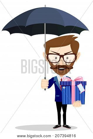 Young Business man with umbrella and gift box. Stock flat vector illustration.
