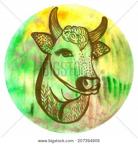 Watercolor badge with cow Vegan style illustration