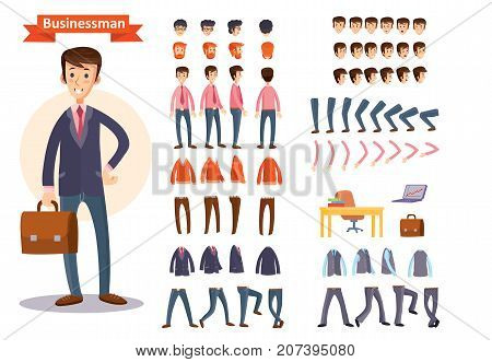 Businessman cartoon character generator with smiling young man in business suit and briefcase. Face expressions, body parts, clothing, business attributes set for personage making flat isolated vector