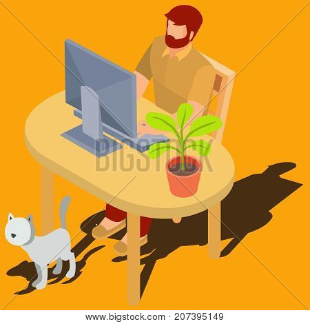 Bearded red-head man working on computer while sitting at desk with  flowerpot and walking around cat isometric 3d vector illustration. Male user browsing Internet at home, buying goods. study online