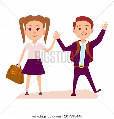 Schoolboy with rucksack and schoolgirl with bag in purple uniform hold hands isolated vector illustration on black background.