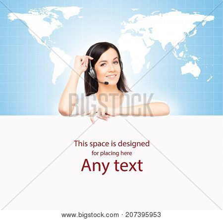 Call center operator working in a hot line office. Customer support and a global business concept. World map background.