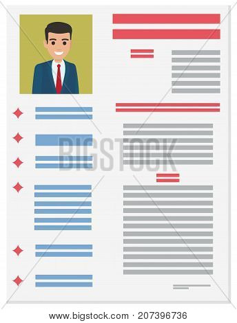 Resume with detailed information about executive manager in suit vector illustration. Job application form of businessman
