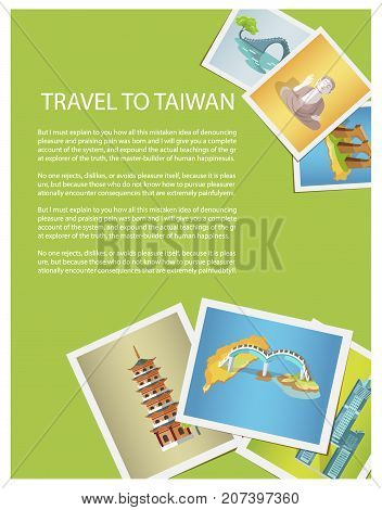 Travel to Taiwan bright promotion poster with photos of attractions. Amazing buildings, unusual bridges and historical monuments vector illustration.