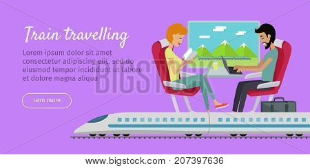 Train travelling conceptual web banner. Railway comfortable family journey. Young couple relaxing sitting in comfortable armchairs in express. Traveling by train concept. Vector in flat style design.