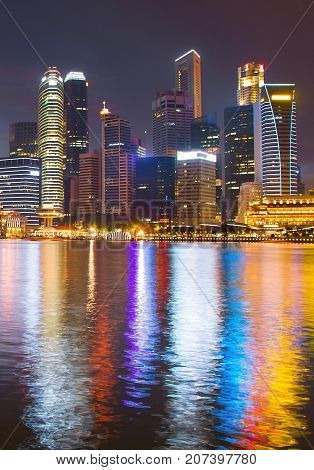 Singapore Business Downtown Night View