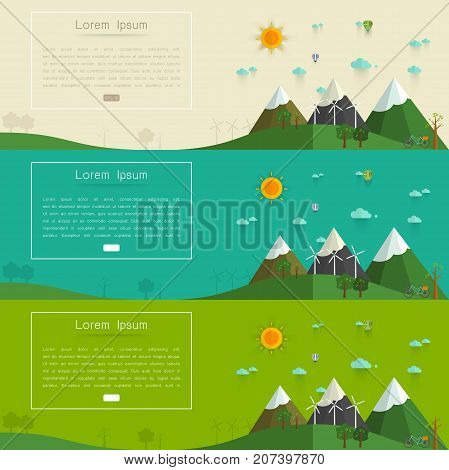 Natural landscape in the flat style. a beautiful park.Environmentally friendly natural landscape.Vector illustration