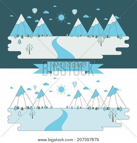 Isolated nature landscape with mountains hills. river and trees on background. winter landscape. Flat linear landscape vector illustration.