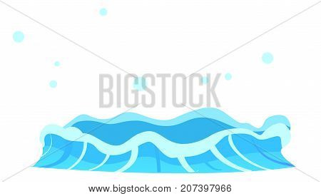Aqueous stream with splashes of blue crystal aqua. Geyser flow of water from under earth isolated on white. Vector illustration of hot spring in flat design cartoon style, attraction for tourists