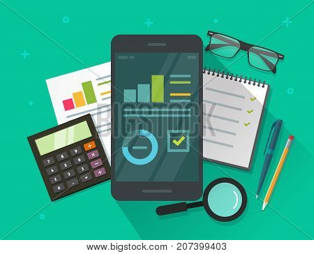 Analytics data results on mobile phone screen and table vector illustration, flat cartoon statistics information research on smartphone, cellphone display with growth graph or chart report dashboard