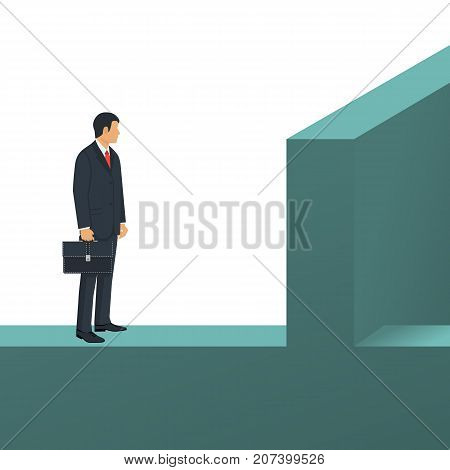 Barrier on a way to success. Businessman is standing in front of wall. Vector illustration flat design. Isolated on white background. Obstacle on road. Problem on way. Business people.