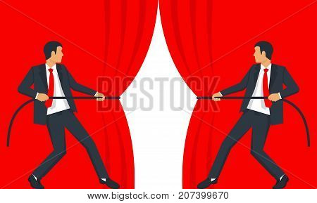 Open curtain. Businessman hands pull rope red velvet silk fabric. Grand opening concept. Vector illustration flat design. Isolated on white background.  Ceremony, celebration, presentation and event.