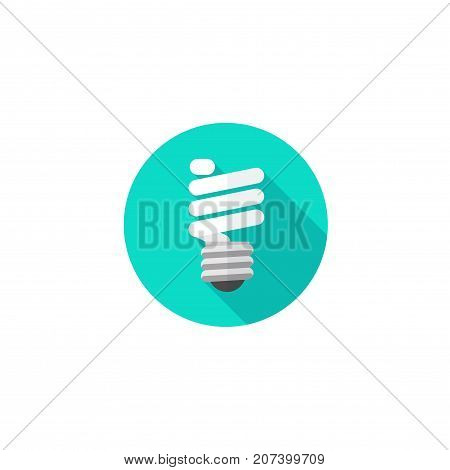 Light bulb icon vector illustration, flat cartoon fluorescent bulb symbol isolated on white