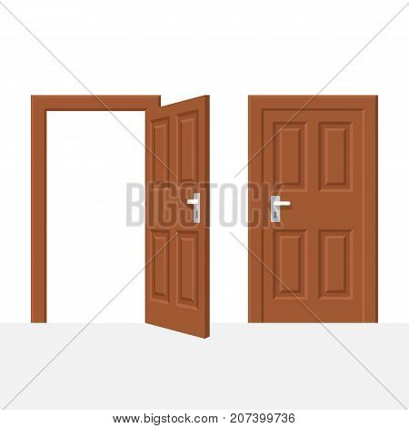 Open and closed wood door isolated on white background. Vector illustration flat style. Element of interesting design.