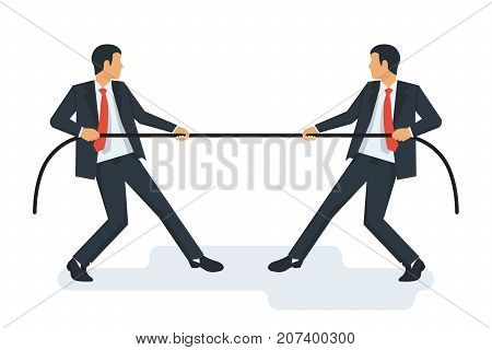 Tug concept. Two businessmen in suits pull the rope. Symbol of competition in business. Vector illustration flat design. Isolated on white background. Conflict of people.