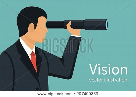 Vision business concept. Successful businessman looking in telescope, seeing future. Vector illustration flat design. Isolated on background. Spyglass in hand. Search solution. Forward-looking person.