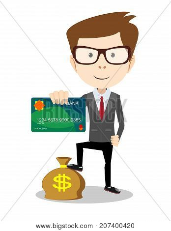 Man in suit shows plastic card and money bag - credit card payment concept. Stock flat vector illustration.