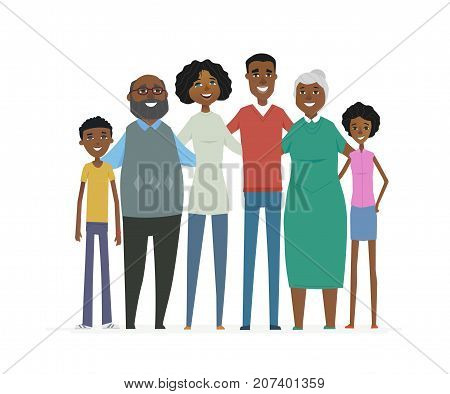 Happy African family - cartoon people characters isolated illustration on white background. Smiling relatives standing together and hugging. Wife, husband, grandmother, grandfather, son and daughter
