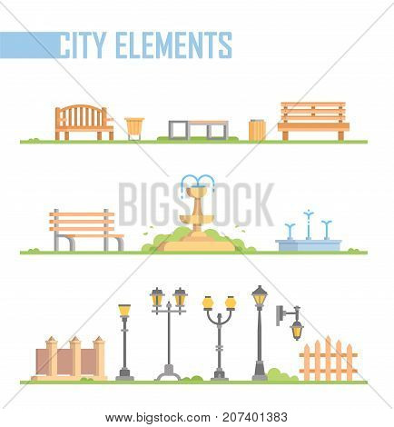 Set of city elements - modern vector cartoon isolated illustration in flat design style on white background. Different benches, fountains, street lanterns, trash cans, fence, gates on a green lawn