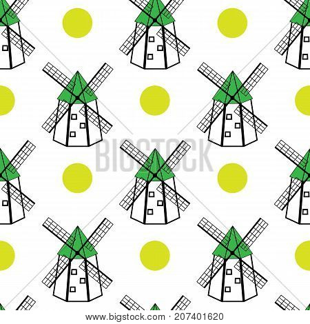 Seamless pattern with windmills on a white background. Vector repeated illustration for textile and pack paper.