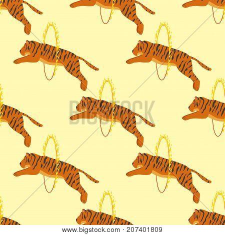 Tiger action wildlife animal danger circus seamless pattern mammal fur wild bengal wildcat character vector illustration. Safari striped carnivore aggressive anger orange jungle feline.