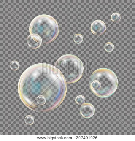 Soap Bubbles Vector. Rainbow Reflection Soap Bubbles. Aqua Wash. Isolated Illustration