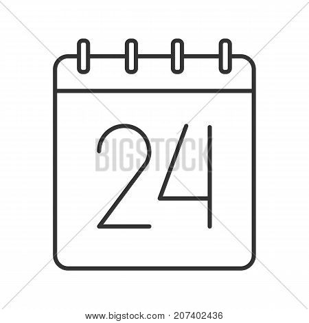 Twenty fourth day of month linear icon. Wall calendar with 24 sign. Thin line illustration. Date contour symbol. Vector isolated outline drawing
