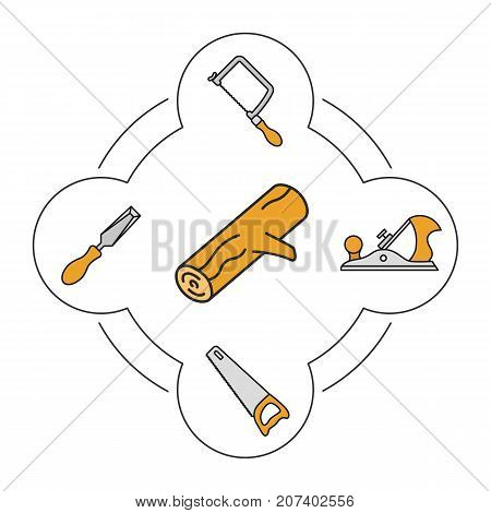 Wood working tools color icons set. Logging. Hand saw, jigsaw, chisel, jack plane. Isolated vector illustrations