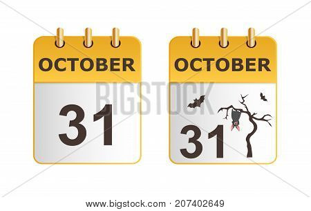 Halloween on icons of calendar in different versions. Date on calendar sheet October 31. Grey bat hanging on dry tree. Stylish, succinct vector illustration. Horizontal location.