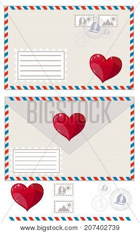 Valentine letter, icon. Stock flat vector illustration
