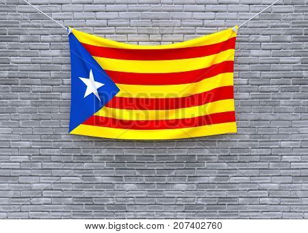 Catalonia flag hanging on brick wall. 3D illustration