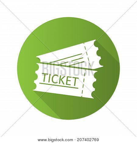 Tickets flat design long shadow glyph icon. Cinema, flight or sport event tickets. Vector silhouette illustration