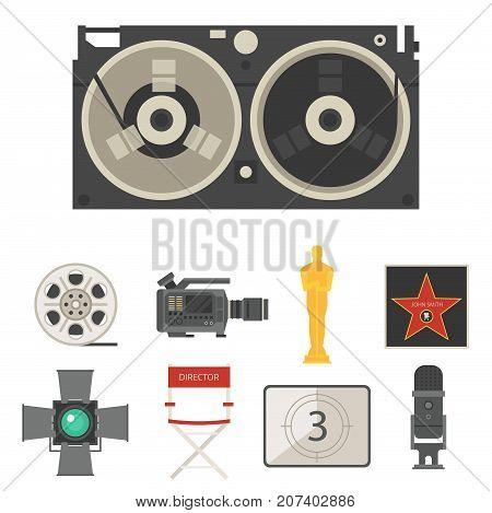 Cinema movie making tv show tools equipment symbols icons vector set illustration. Isolated entertainment design camera sign. Director cinematography hollywood multimedia equipment.