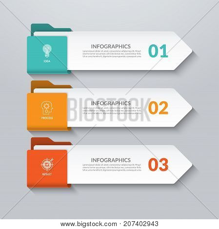 Infographic arrows. 3 options, steps, parts. Vector design elements for infographics. Can be used for workflow layout, diagram chart, graph, web design.