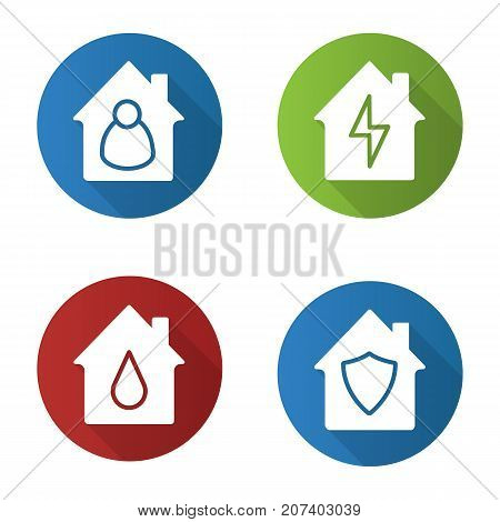 Houses flat design long shadow glyph icons set. Housekeeper, water supply, private property protection, home electrification. Vector silhouette illustration