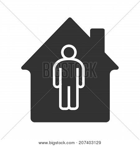 Tenant, resident, owner glyph icon. Silhouette symbol. House building with man inside. Negative space. Vector isolated illustration