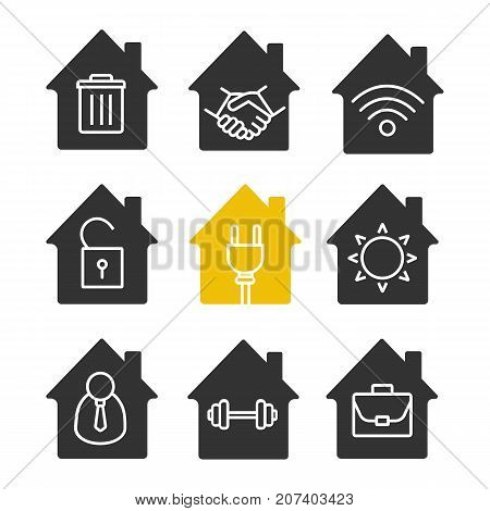 Houses glyph icon set. Silhouette symbols. Freelance, broker, eco electrification, unlocked house, office, sport training at home, real estate deal, wifi signal, trashcan. Vector isolated illustration