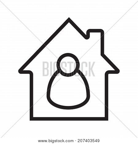 Tenant, resident linear icon. Private property. Real estate. Thin line illustration. House with person inside. Contour symbol. Vector isolated outline drawing