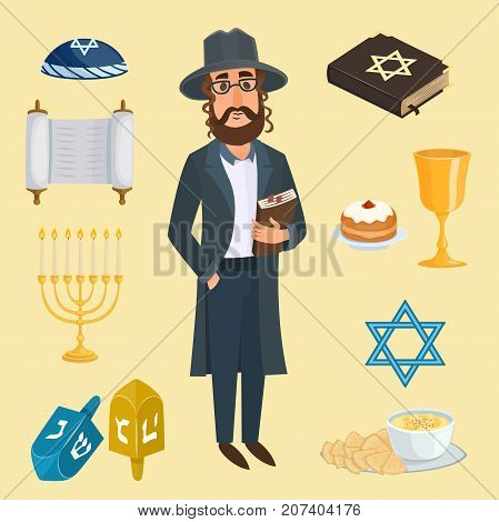Jewish holidays icons israeli holidays Hanukah, Purim, Pesach, Sukkot, Rosh Hashanah, Shavuot, Simchat-Torah. Jew icons traditional illustration hanukkah. Religious symbol jew icons synagogue culture.