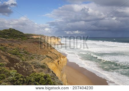 The cliffs at Gibson's Steps overlooking the beach near the Twelve Apostle Sea Rocks. Port Campbell National Park