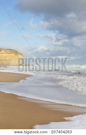 Beautiful beach at Gibson's Steps on the Great Ocean Road in a vertical format