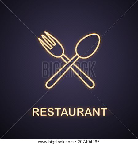 Eatery neon light icon. Cafe and restaurant glowing sign. Crossed fork and spoon. Vector isolated illustration