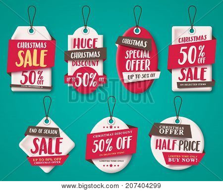 Christmas sale tags vector set with origami paper cut style, price tags shapes and discount text for holiday shopping promotion. Vector illustration.