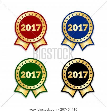 Ribbons award best product of year 2017 set. Gold ribbon award icon isolated white background. Best product golden label for prize badge medal guarantee quality product Vector illustration