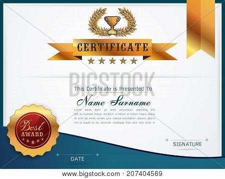Graceful certificate template with Luxury and modern pattern Qualification certificate blank template with elegantVector illustration